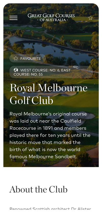 Rock Agency - Great Golf Course Australia Project Mobile