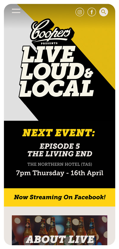 Rock Agency - Projects - Coopers Live Loud & Local - Homepage