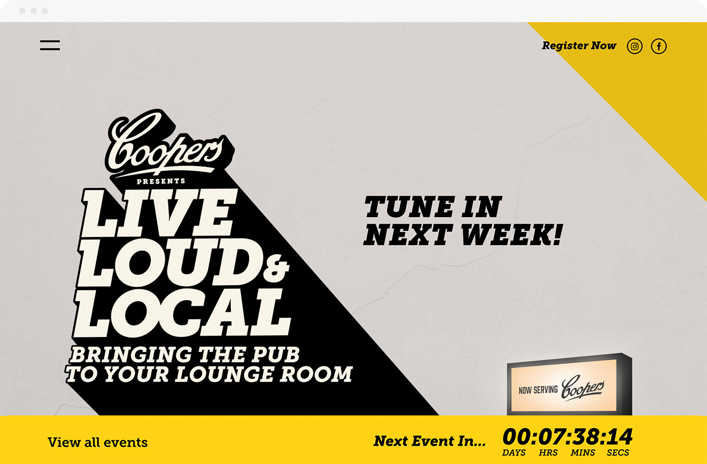 Rock Agency - Projects - Coopers Live Loud & Local - Desktop - Homepage